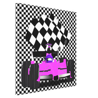 Girly Pink Race Car with Checkered Flag Canvas Print