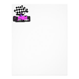 Girly Pink Race Car with Checkered Flag Letterhead