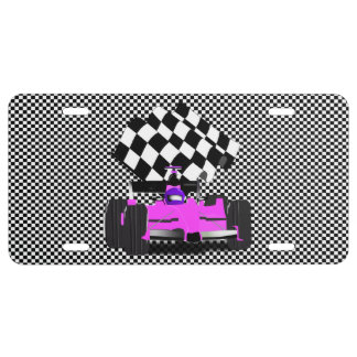 Girly Pink Race Car with Checkered Flag License Plate