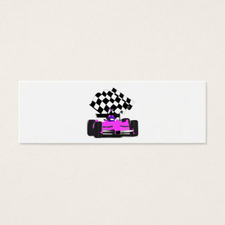 Girly Pink Race Car with Checkered Flag Mini Business Card