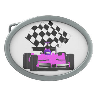 Girly Pink Race Car with Checkered Flag Oval Belt Buckle