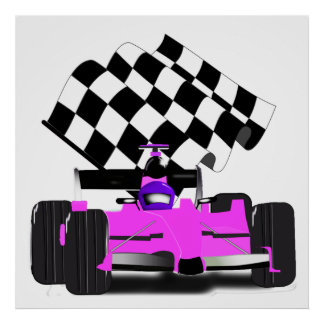 Girly Pink Race Car with Checkered Flag Poster