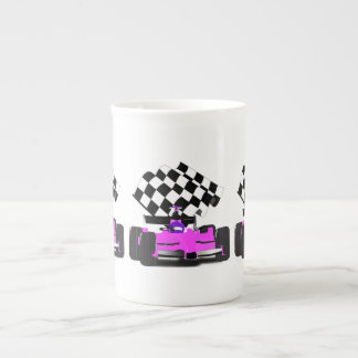 Girly Pink Race Car with Checkered Flag Tea Cup