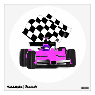 Girly Pink Race Car with Checkered Flag Wall Sticker