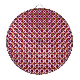 Girly Pink Red Floral Diamonds Abstract Pattern Dartboards