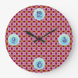 Girly Pink Red Floral Diamonds Abstract Pattern Large Clock