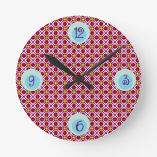 Girly Pink Red Floral Diamonds Abstract Pattern Round Clock