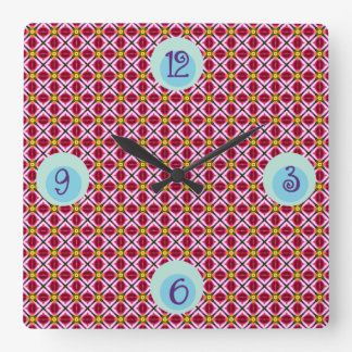Girly Pink Red Floral Diamonds Abstract Pattern Square Wall Clock