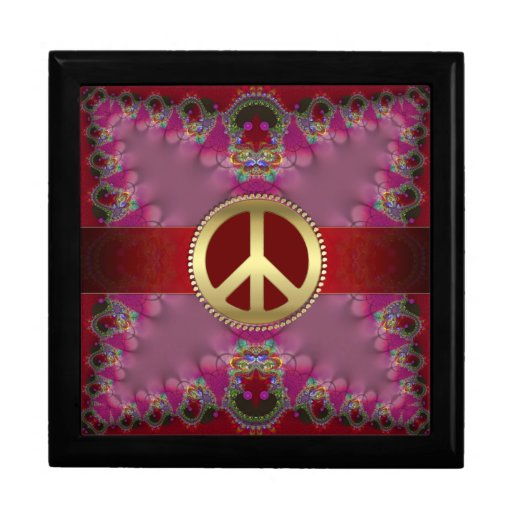 Girly Pink Red Gold Peace Sign Jewelry Gift Box