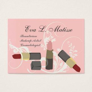 Girly Pink Red Lipstick Makeup Artist MUA Business Card