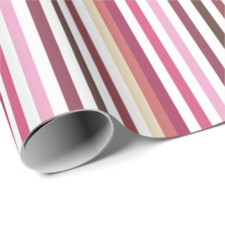 Girly Pink Red Wide Horizontal Stripes Pattern Wrapping Paper