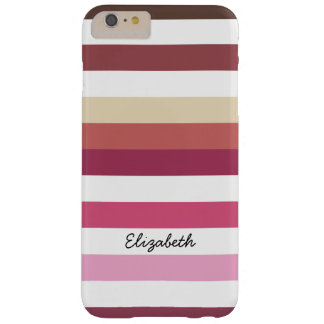 Girly Pink Red Wide Horizontal Stripes With Name Barely There iPhone 6 Plus Case
