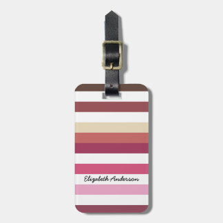 Girly Pink Red Wide Horizontal Stripes With Name Luggage Tag