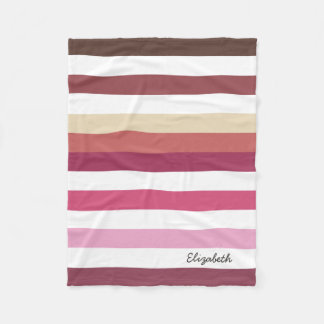 Girly Pink Red Wide Horizontal Stripes With Name Fleece Blanket