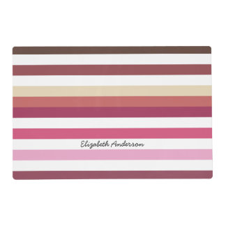Girly Pink Red Wide Horizontal Stripes With Name Placemat