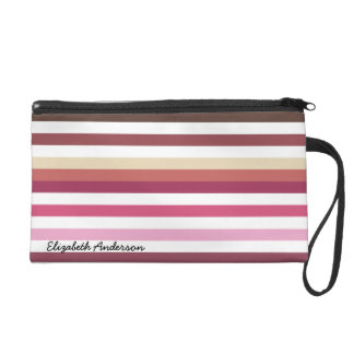 Girly Pink Red Wide Horizontal Stripes With Name Wristlet