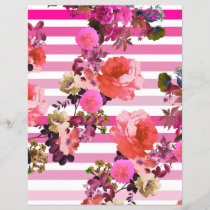 Girly Pink Retro Floral Pattern Pink Ombre Stripes
