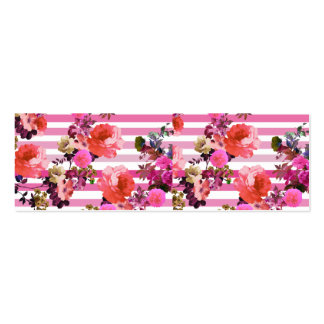 Girly Pink Retro Floral Pattern Pink Ombre Stripes Double-Sided Mini Business Cards (Pack Of 20)
