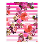 """Girly Pink Retro Floral Pattern Pink Ombre Stripes 8.5"""" X 11"""" Flyer"""
