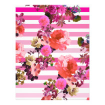 Girly Pink Retro Floral Pattern Pink Ombre Stripes Flyer