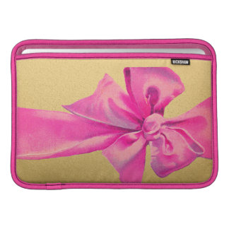 Girly Pink Ribbon Bow on Gold Shimmer MacBook Sleeve