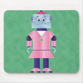 Girly Pink Robot Mousepads