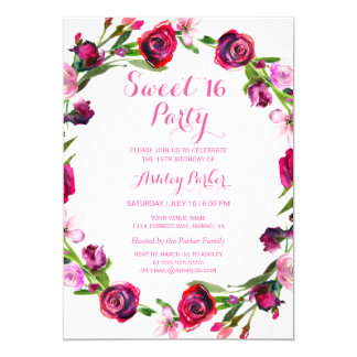 Girly Pink Rose Flower Sweet 16 Party Invitation