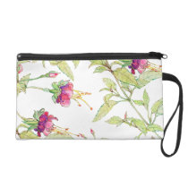 Girly Pink Rose Garden Floral Pattern Wristlet