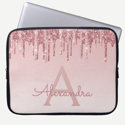 Girly Pink Rose Gold Glitter Drips Monogram Laptop Sleeve