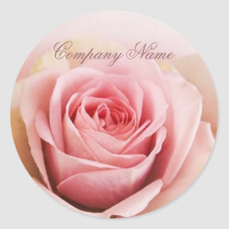 girly pink rose wedding florist business classic round sticker