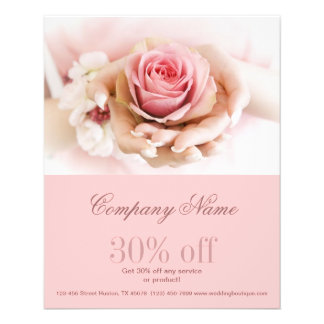 girly pink rose  wedding florist business flyer
