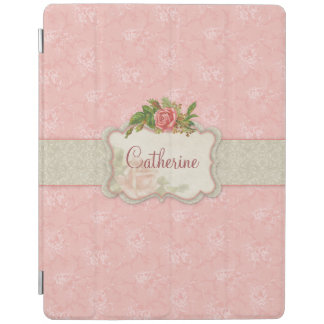 Girly Pink Roses and Damask Personalized iPad Smart Cover