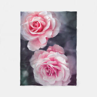 Girly Pink Roses Floral Photo Fleece Blanket