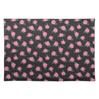 Girly pink roses floral rose flowers cute pattern placemat