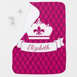 Girly Pink Royal Princess Pin-tucked Crown Receiving Blanket