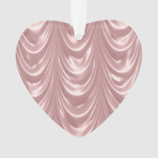 Girly Pink Ruched Satin Scalloped Pattern Ornament