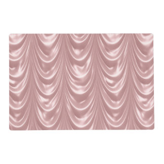 Girly Pink Ruched Satin Scalloped Pattern Placemat