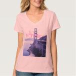 Girly Pink San Francisco Golden Gate Bridge T-shirt
