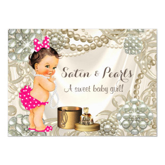 Girly Pink Satin Pearl Baby Girl Shower Card