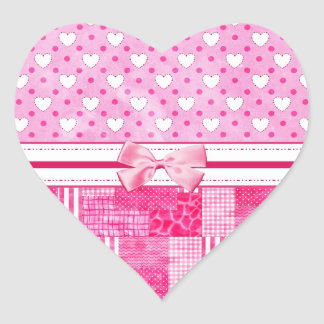 Girly Pink Scrapbook Country Style Heart Sticker