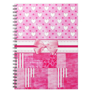 Girly Pink Scrapbook Style Spiral Notebook