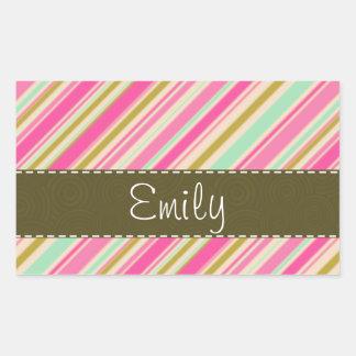 Girly Pink & Seafoam Striped Rectangular Sticker