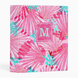 Girly Pink Shells Pattern Personalized Mini Binder