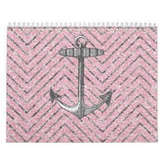 Girly Pink Silver Glitter Chevron Pattern Anchor Wall Calendar