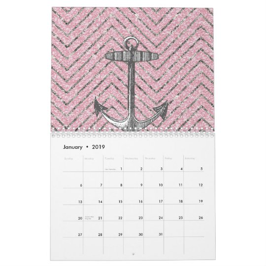Girly Pink Silver Glitter Chevron Pattern Anchor Calendar Zazzle Com