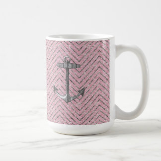 Girly Pink Silver Glitter Chevron Pattern Anchor Coffee Mug