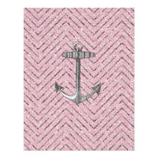 Girly Pink Silver Glitter Chevron Pattern Anchor Flyer
