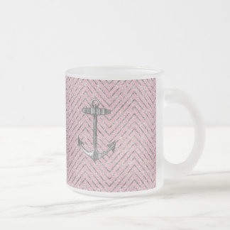 Girly Pink Silver Glitter Chevron Pattern Anchor Frosted Glass Coffee Mug