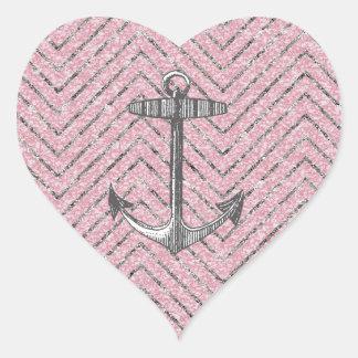 Girly Pink Silver Glitter Chevron Pattern Anchor Heart Sticker