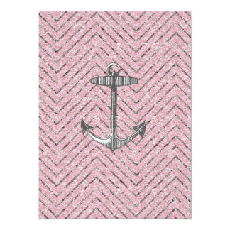 "Girly Pink Silver Glitter Chevron Pattern Anchor 5.5"" X 7.5"" Invitation Card"